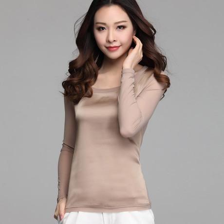 New women blouses casual chiffon silk blouse slim long sleeve O-neck blusa feminina tops shirts solid 8 color