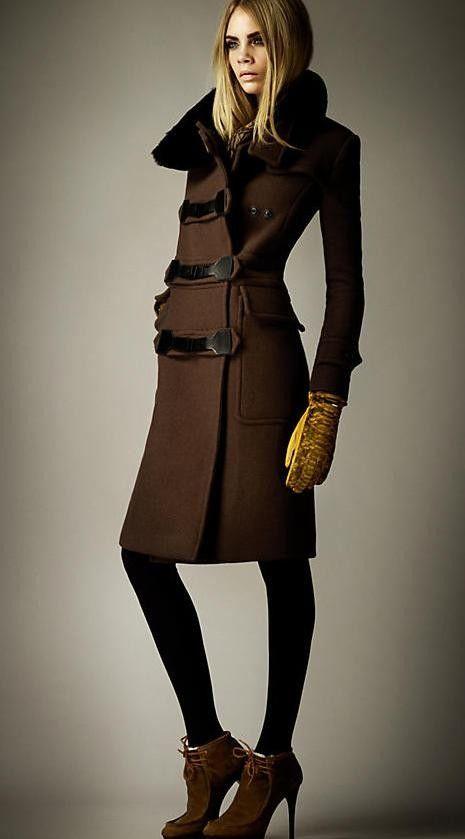Morpheus Boutique  - Brown Trendy Belt Long Sleeve Wool Celebrity Designer Coat