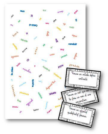 Un petit jeu de lynx tout simple pour travailler les classes grammaticales. On pioche la carte consigne et on cherche le ou les mots qui correspondent. Le premier qui trouve marque un point. &nbsp…