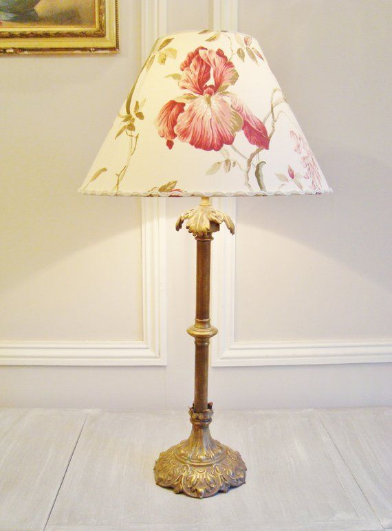 Antique French Table Lamp With A Hand Made Iris And Wisteria Lampshade