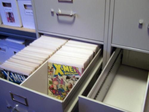 Buy used office furniture and use a foam divider in a legal size filing cabinet for single issue comic storage.