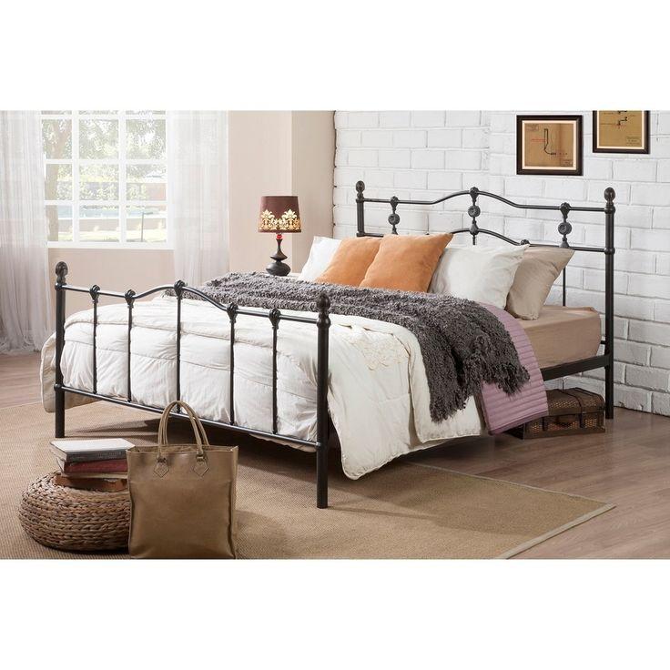 wendy shabby chic vintage antique dark bronze fullqueen size iron metal platform bed - Bed Frame Deals