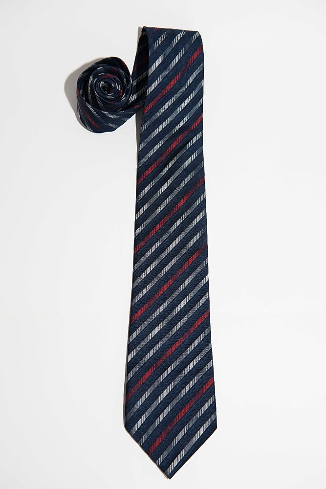 Vintage Tootal Mens Blue, Red + White Striped Kipper Tie - Wide - Made In UK