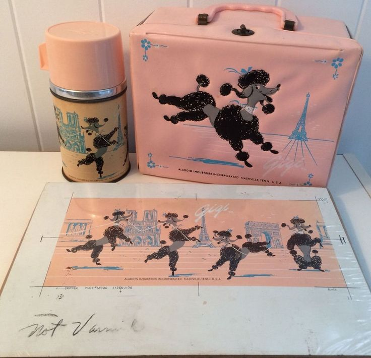 "PRETTY IN PINK:VINTAGE ""GIGI"" POODLE VINYL BOX, THERMOS&RARE TEMPLATE-SHIPS FREE"