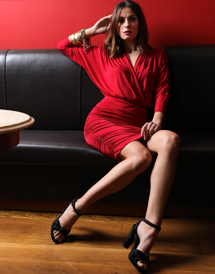 This fiery red 80s inspired dress paired with velvet pumps will transform your party outfit!