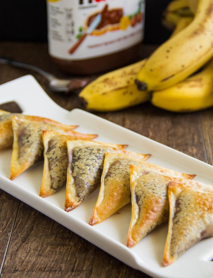 Banana Nutella wontons are easy and delicious treats. Caramelized banana slice covered with Nutella and wrapped in crunchy wonton wraps...