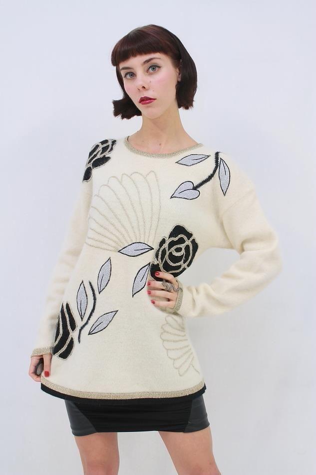 Vintage 80's METALLIC Floral Cream LAMBSWOOL ANGORA Knit Jumper AUS 10 12 S M