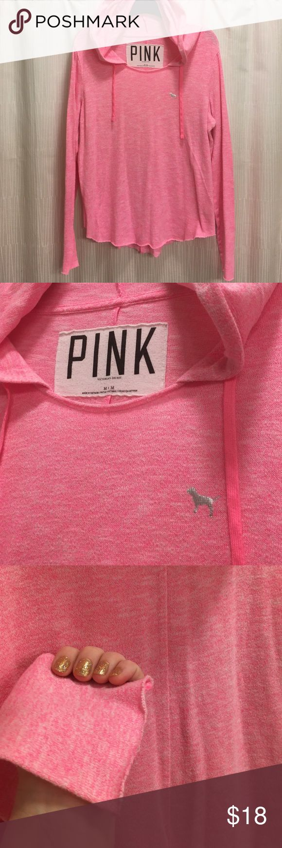 PINK. Hot😍Pink Slouchy Pullover Hoodie 💗 Hot Pink hoodie from Victoria's Secret PINK. Great shape, worn a handful of times. Bright marled pink, very lightweight. Features dog logo on chest, rough hemlines, and seam down the back. Hood has print shown in last photo. PINK Victoria's Secret Tops Sweatshirts & Hoodies