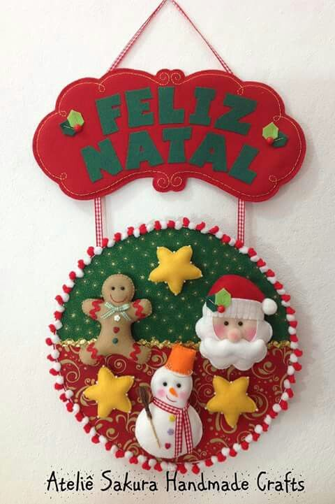 Natal enfeite de porta em feltro encantos e inspira es for Porta kleenex feltro