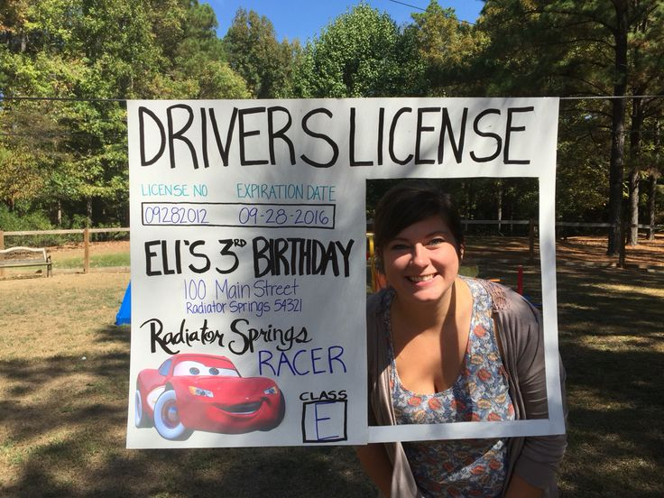 Disney Pixar Cars birthday activity- driver's license photo booth