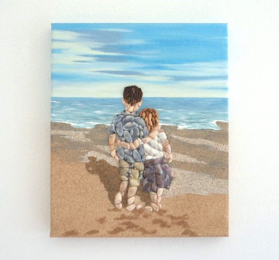 Acrylic Painting, Beach Artwork with Seashells and Sand, Boy & Girl on Beach in Seashell Mosaic on Sand, Mosaic Art, 3D Art Collage, Home Decor, Wall Decor #ArtworkwithSeashells #mosaiccollage #seashellmosaic #homedecor #walldecor #3D
