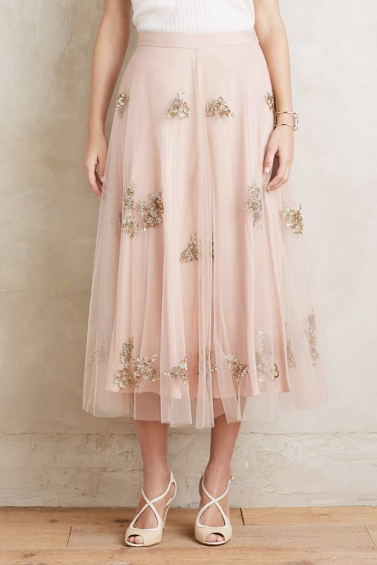Embellished Tulle Midi Skirt by Anthropologie