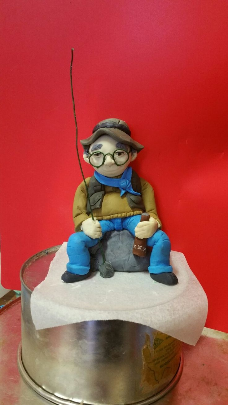 fisherman old man fondant topper