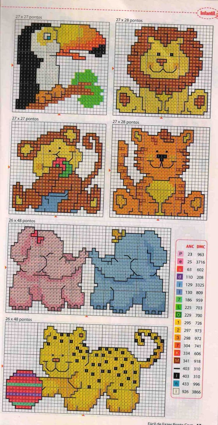 Cute and simple cross stitch animals, ideal for kids' cards or patch detail on clothing. How about a patch on a pencil case?