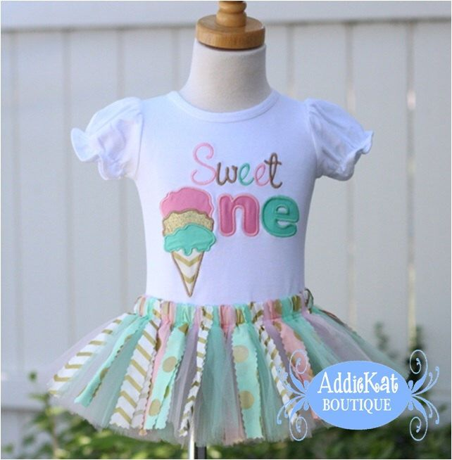 Personalized Ice Cream Cone Sweet One Fabric Birthday Tutu Outfit by AddieKatShop on Etsy https://www.etsy.com/listing/235687623/personalized-ice-cream-cone-sweet-one