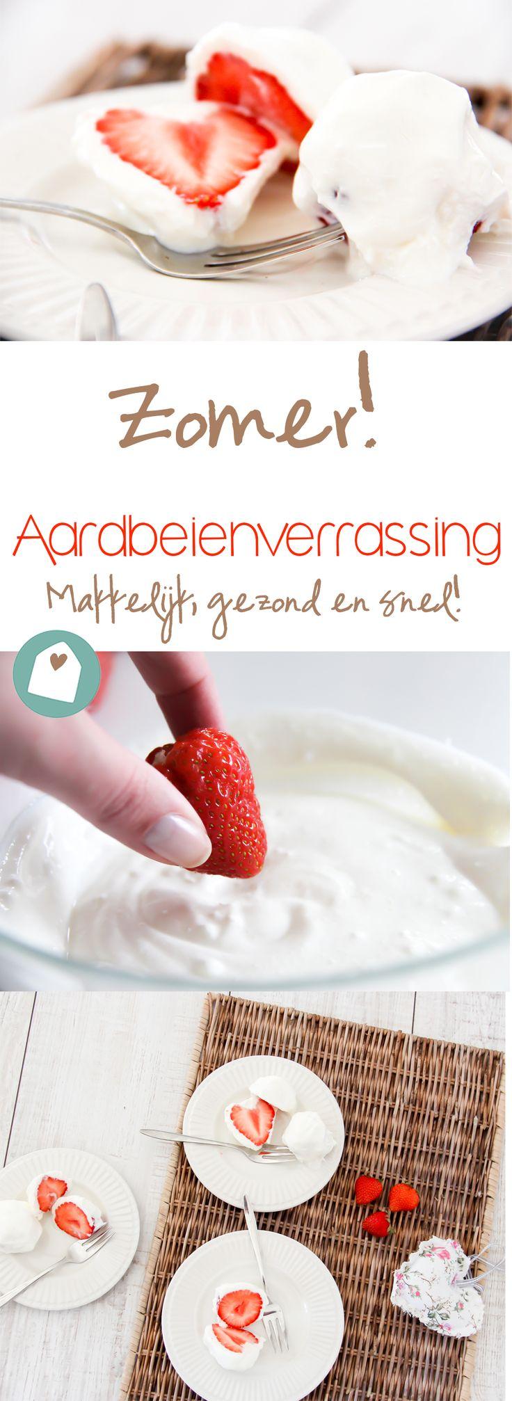 Recept: zomer aardbeien met yoghurt uit de vriezer. Simpel, snel en caloriearm!