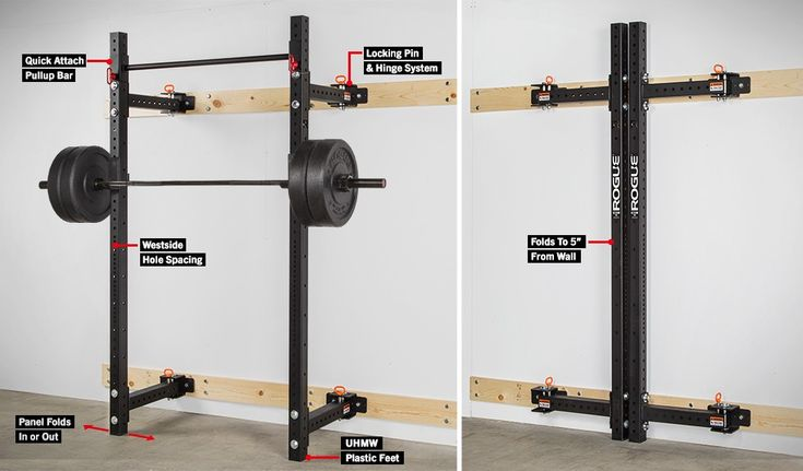 Rogue RML-3W Fold Back Wall Mount Rack - use to create a minimal-footprint garage gym.