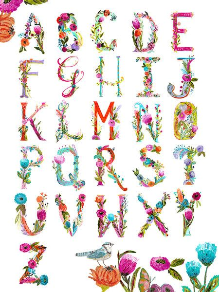 """Bari J.'s painted alphabet chart adds a bit of charm to any room. 12"""" x 16"""". Printed on premium enhanced heavyweight stock. 10.3 mil thick. Wall Art. Great for children room's. Wall decor. Home decor. Bari J Art."""