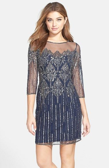 Women's Pisarro Nights Illusion Yoke Beaded Cocktail Dress