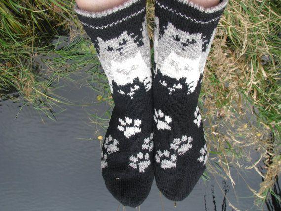 knit socks with cat wool socks knitted socks Scandinavian pattern Norwegian socks Christmas socks gift to man. gift to woman