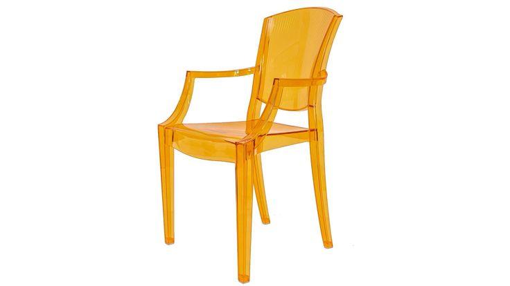 Transparent guld Schnauzern plaststol i polykarbonat. Stol, plast, polykarbonat, kök, vardagsrum, hall, sovrum, inredning, möbler. http://sweef.se/stolar/444-schnauzern-stol-i-polykarbonat.html