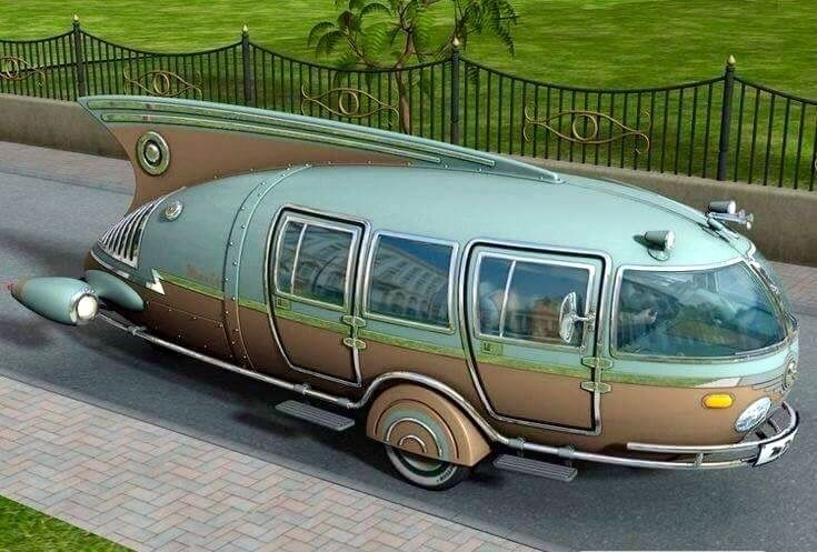 "Found on ""Vintage Trailers"", but upon closer examination it looks like a small motorhome--with the back wheels (or a single wheel) hidden. When it comes to naming the style, what comes to mind is ""50s futuristic."" Would love to find more information on this cool vintage rig!"
