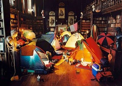 Here's an idea for libraries to get kids excited about visiting: Indoor camping :)
