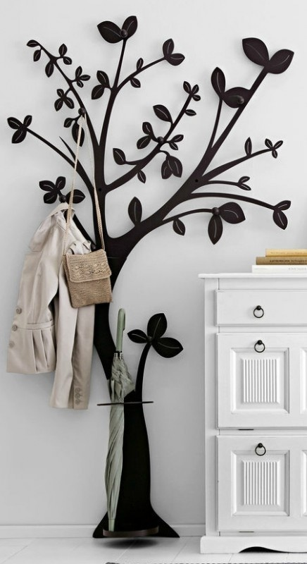 details zu garderobe baum wandgarderobe aus metall dunkelbraun ebay. Black Bedroom Furniture Sets. Home Design Ideas