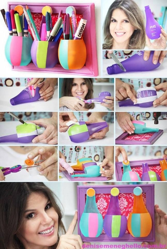 DIY Plastic Bottle Pen Holder DIY Plastic Bottle Pen Holder