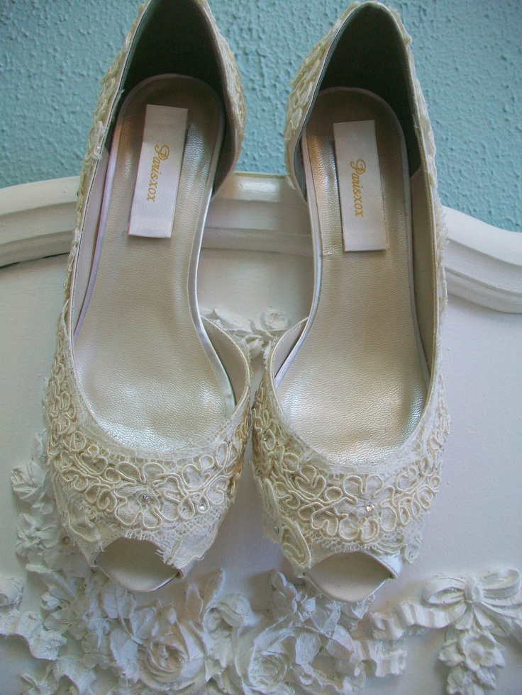 Lace Wedding Shoes Vintage Antique Lace Pearls Kitten Heels Bride Bridesmaid Ivory Swarovski Crystal Bridal