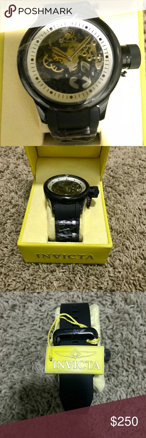Invicta Black Rubber Men's Watch Brand New Never Been Worn! Low price for this authentic Invicta Watch new with tags, plastic screen still in face. Black rubber band and see through face Invicta Accessories Watches