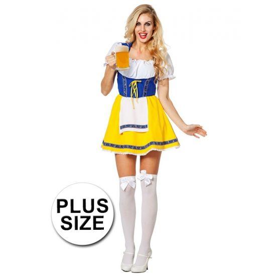 Grote maten biermeisje kostuum voor dames. Dit biermeisje kostuum is exclusief accessoires. Het biermeisje jurkje heeft een gele rok met een wit schortje, een blauw middel en een witte top met blauwe schouderbanden en witte pof mouwtjes. Materiaal: 100% polyester.