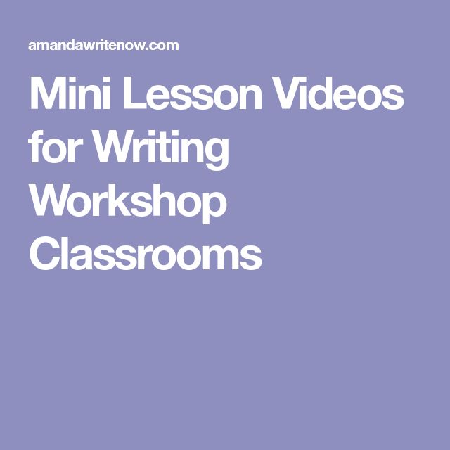 Mini Lesson Videos for Writing Workshop Classrooms