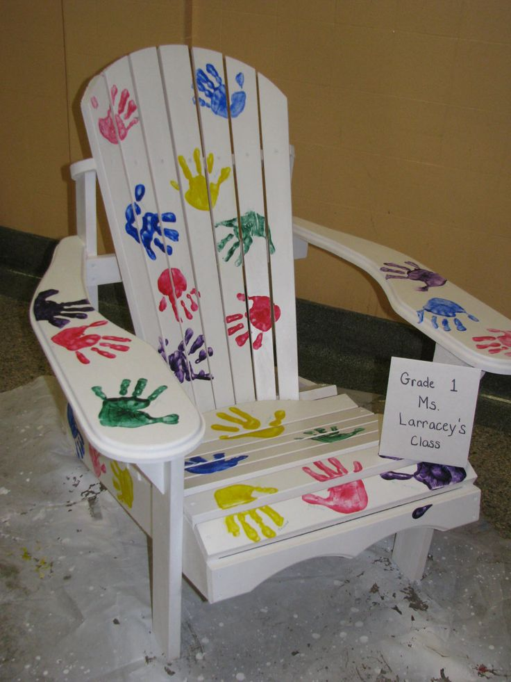 Creative Seating: Who wouldn't want to add this hand-print-accented chair to their outdoor furniture collection? Source: Blessed Sacrament Catholic School