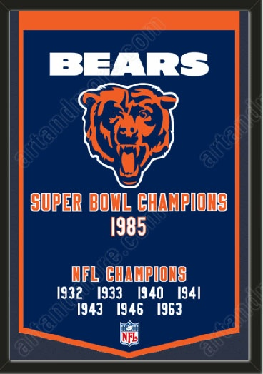 This Chicago Bears dynasty banner framed to 26 x 38 inches.  $199.99 @ ArtandMore.com