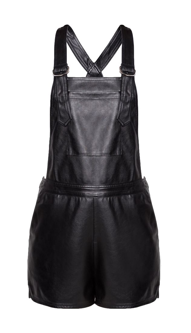 Faux Leather Dungarees by ZALORA. Dungarees that made from polyester combination material with bold color, and simple but stylish. Sleeveless dungarees with side zipper closure, half lining, regular fit, perfect outfit for music festival. Available at