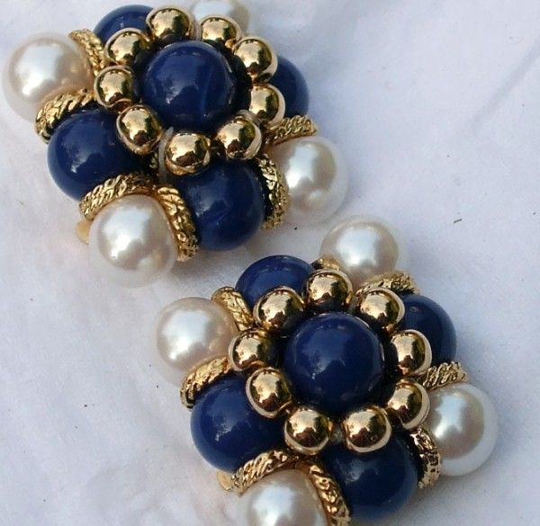Pearly Blue Clip on Earrings. These would be fun to try and copy!