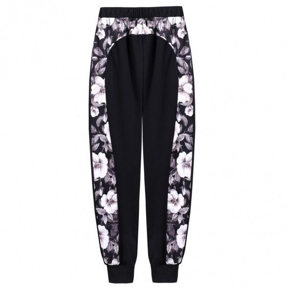 Women Fashion Casual Elastic High Waist Floral Print Patchwork Cuffed Joggers Pants