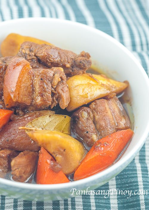 Liempo Estofado is a sweet stew composed of pork belly (liempo), saba banana, and carrots. The components are cooked in mixture of soy sauce, vinegar, and sugar.