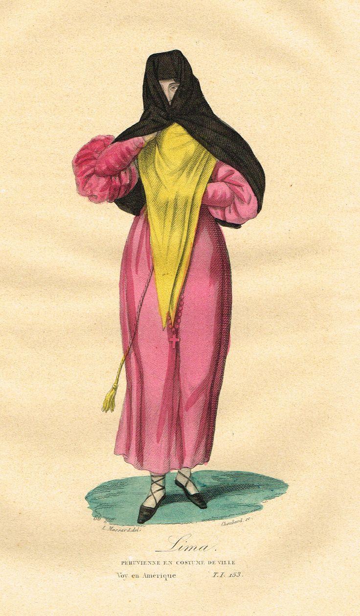 Lima - Péruvienne en costume de ville - Voyage en Amérique - Tome I page 153 - Histoire pittoresque des voyages par L.-E. Hatin - 1844 - MAS Estampes Anciennes - Antique Prints