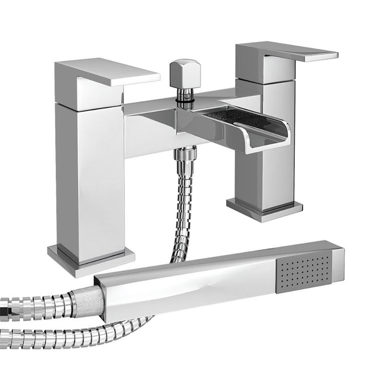 The Plaza Waterfall Bath Shower Mixer Taps with Shower Kit will complement a wide array of modern bathrooms with its sleek, attractive appearance.
