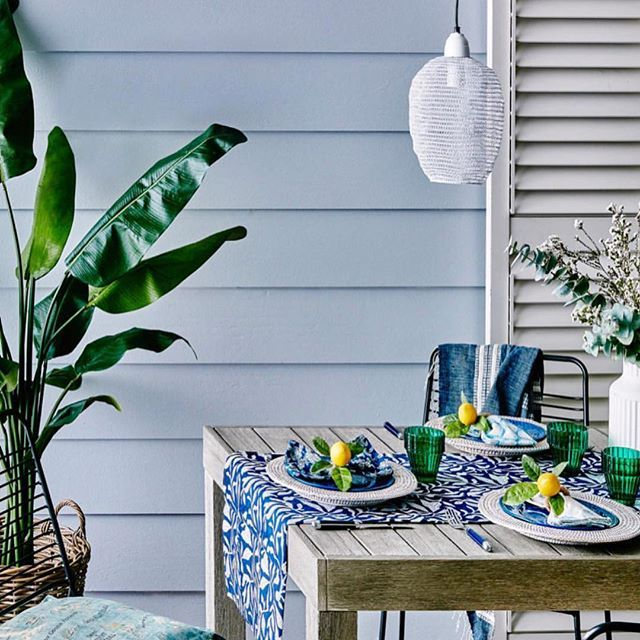 Our Indigo Floral napkins in the most beautiful outdoor setting styled by the lovely Sarah @sarahkmaloney for the November issue of Australian House And Garden @houseandgarden . Photo by @willhornerphoto