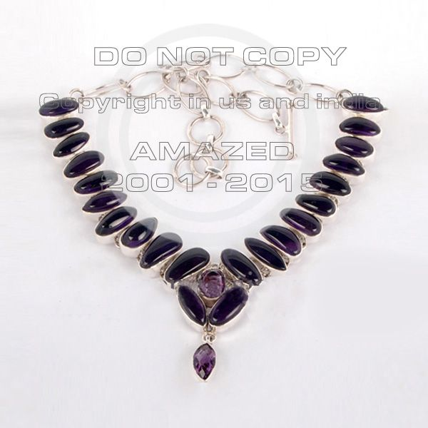 Magnificent heavy weight (50-90 gms approx ) cluster necklaces studded with Amethyst Cab, Amethyst Cut sterling silver jewelry.