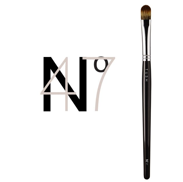 Nr 47 Large Concealer Brush. A concealer brush made of flexible synthetic bristles. The rounded, flat head is ideal for concealing all imperfections. Can be used with all textures of concealer, foundation and cream make up. Available at www.tushbrushes.com