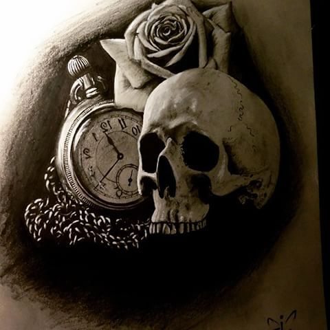 Some realism stuff.. #pocketwatch #rose #skull #time #art #drawing #art #artist  #realism #pencil #3d #tattoo #design