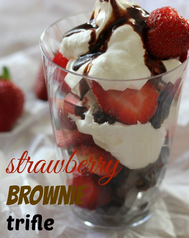 Strawberry Brownie Trifle recipe for Valentine's Day