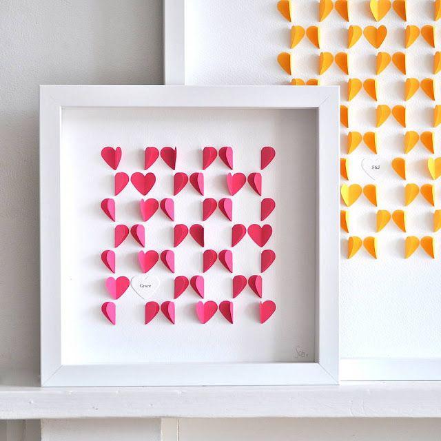 Decoracion facil manualidades cuadros con corazones de - Manualidades para decoracion ...