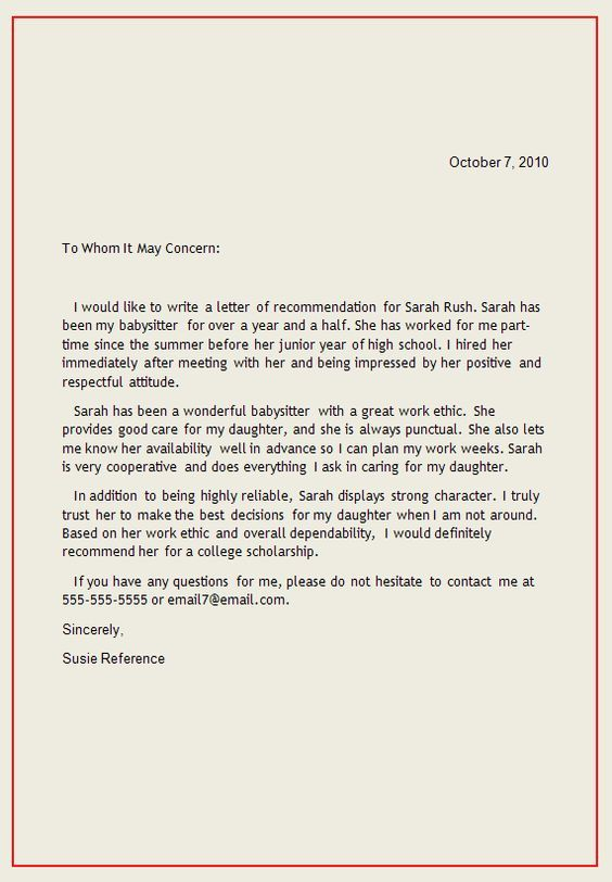 Personal Letter of Recommendation | reference letter1 Writing a Reference Letter: