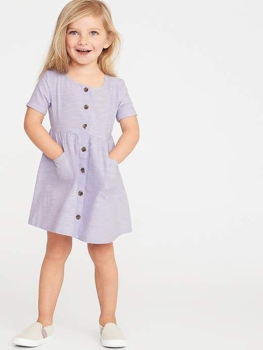 d8a6f3786dd Old Navy Toddler Girls  Waist-Defined Shirt Dress Lupine Lilac ...