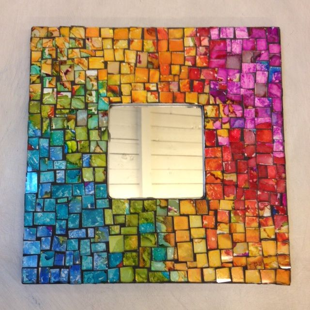 This site tells you all about how to use alcohol #ink. You can make this mirror with ink on glass tiles glued to a frame.